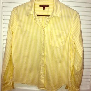 Yellow and white button down shirt